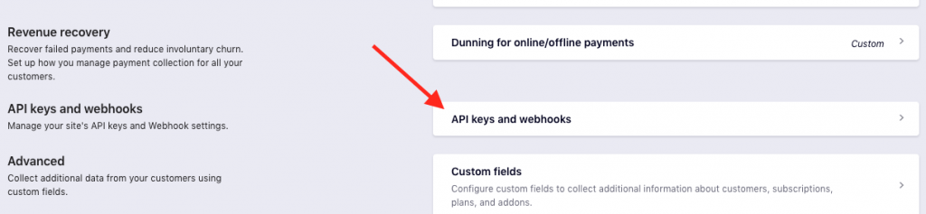 API Keys and Webhooks.