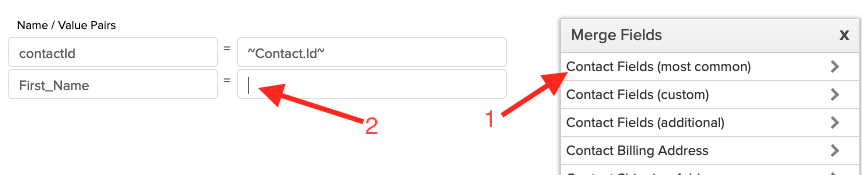 Add merge fields to the webhook.