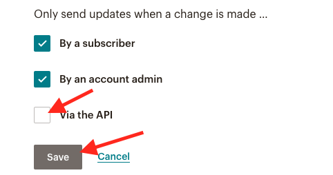 Only send updates when a change is made by...