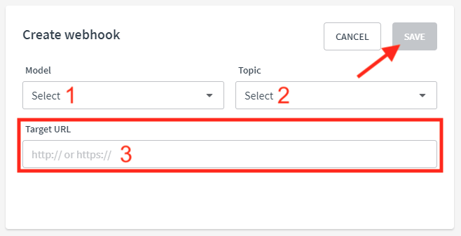 """Select a """"Model"""" and """"Topic"""".  Then paste the Evidence webhook URL that you created in Step 1 into the """"Target URL"""" box and click """"Save"""". (Thinkific)"""