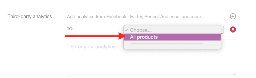 """Scroll down to """"Third-party analytics"""". Select """"All products"""" from the dropdown inside Gumroad."""