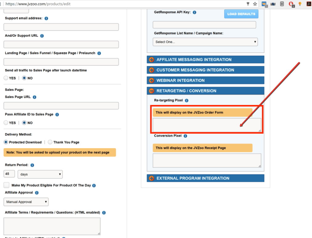In your page settings, go to Retargeting / Conversion. Paste the Evidence pixel in the Re-targeting Pixel box.