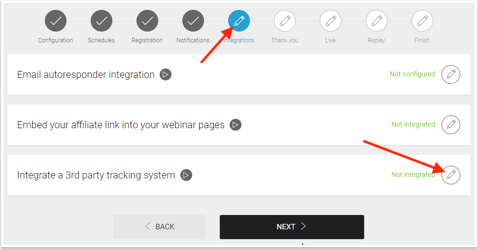 Integrations section. Click the pencil icon on the Integrate a 3rd party tracking system.