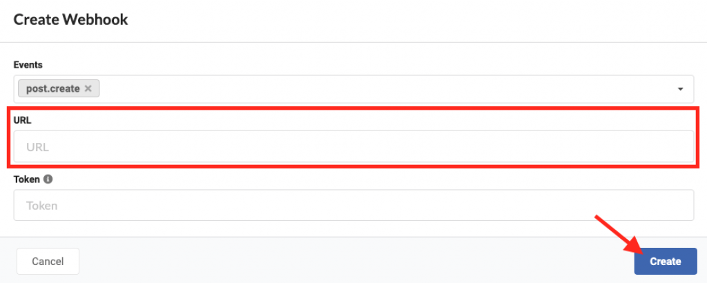 Past the evidence URL and click Create.