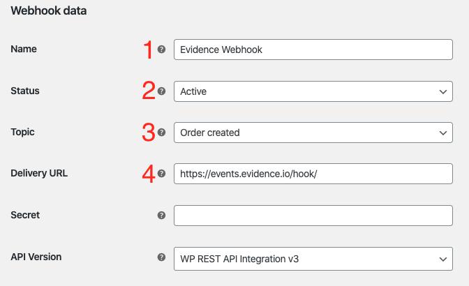 Webhook data settings.