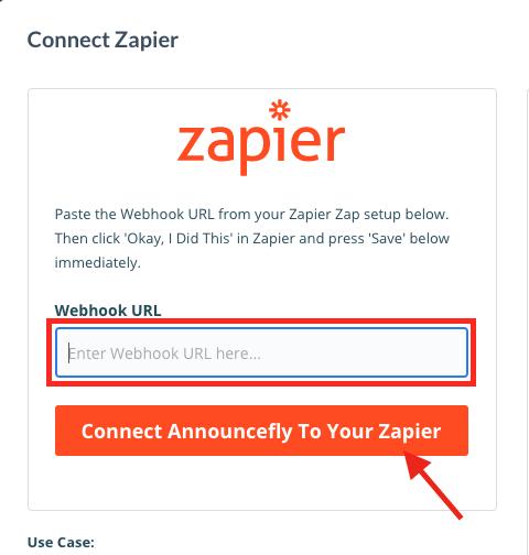 Zapier URL.