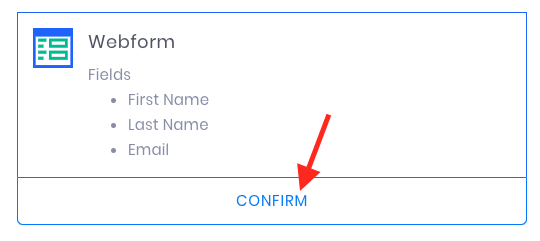 Arrow pointing to Confirm button.