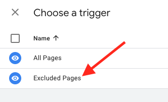 click the excluded pages trigger