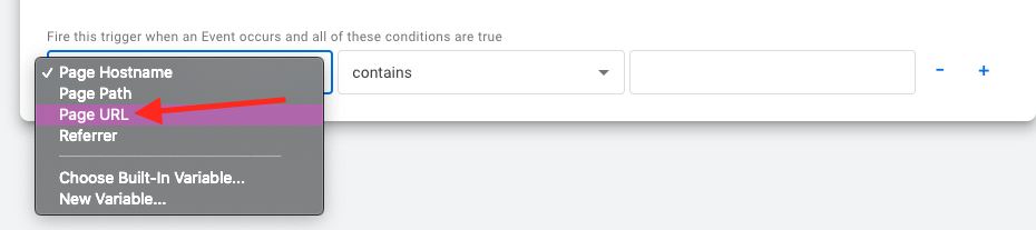select page URL from the drop down on the left