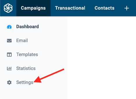 click the settings button from the menu on the left