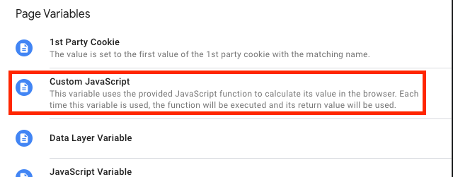 select custom javascript from the menu on the right