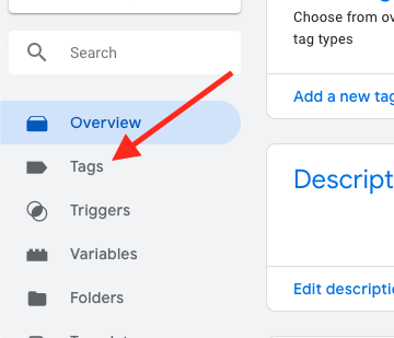 click tags from the menu on  the left