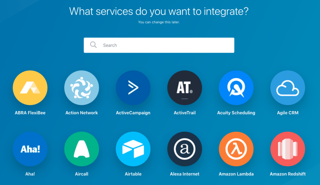 search for the service you want to integrate