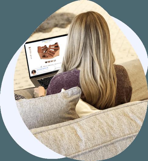 blonde woman laptop screen left