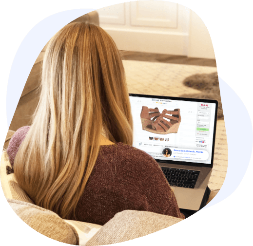 blonde woman laptop screen