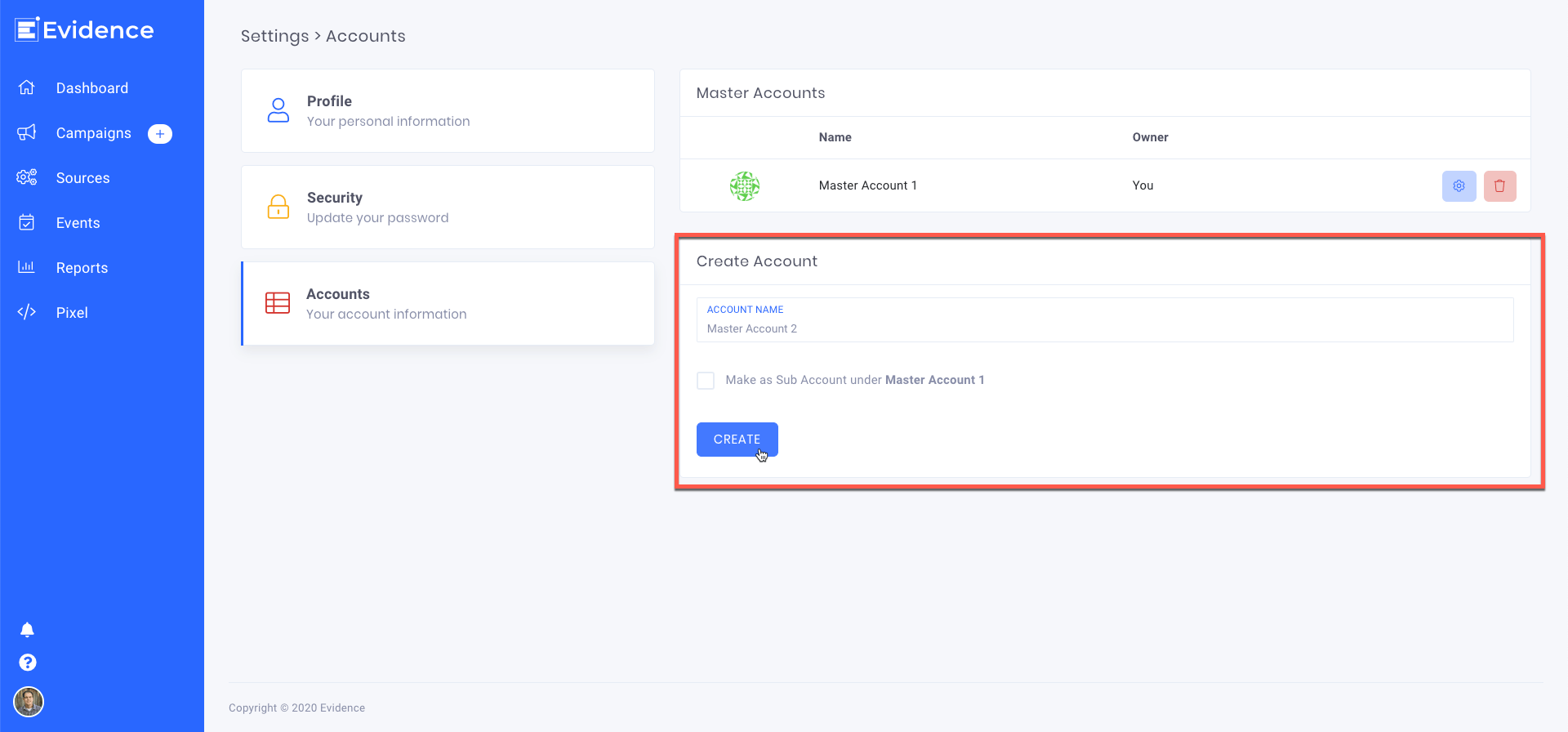 If you have multiple businesses that need their own pixel and billing thresholds, you can easily create an additional master account with your same user profile.